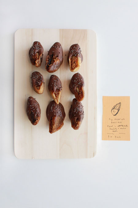 Figs Stuffed with Brazil Nuts Dipped in Milk Chocolates with Mustard Seeds